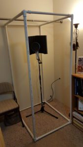 PVC pipe frame with microphone and stand
