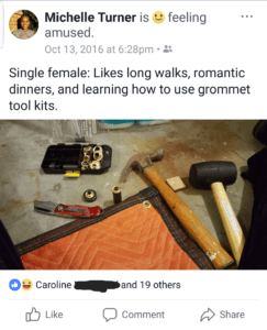 Facebook post with picture of mallet, grommet kit, knife, and moving blanket